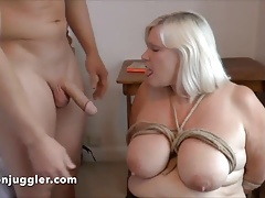 Granny licks her own cum off an obstacle chair
